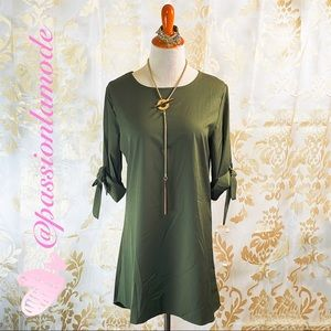 NEW Cotton Bow Olive Green Classy Dress Long Top M